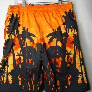Nike Swim - Nike Orange & Black Graphic Swim Large Shorts